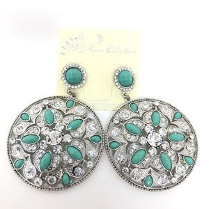 Jewelry - Large Round Silver Teal Diamond medallion Earrings